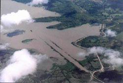 Flooding in Lake Managua after the Hurricane Mitch in 1998