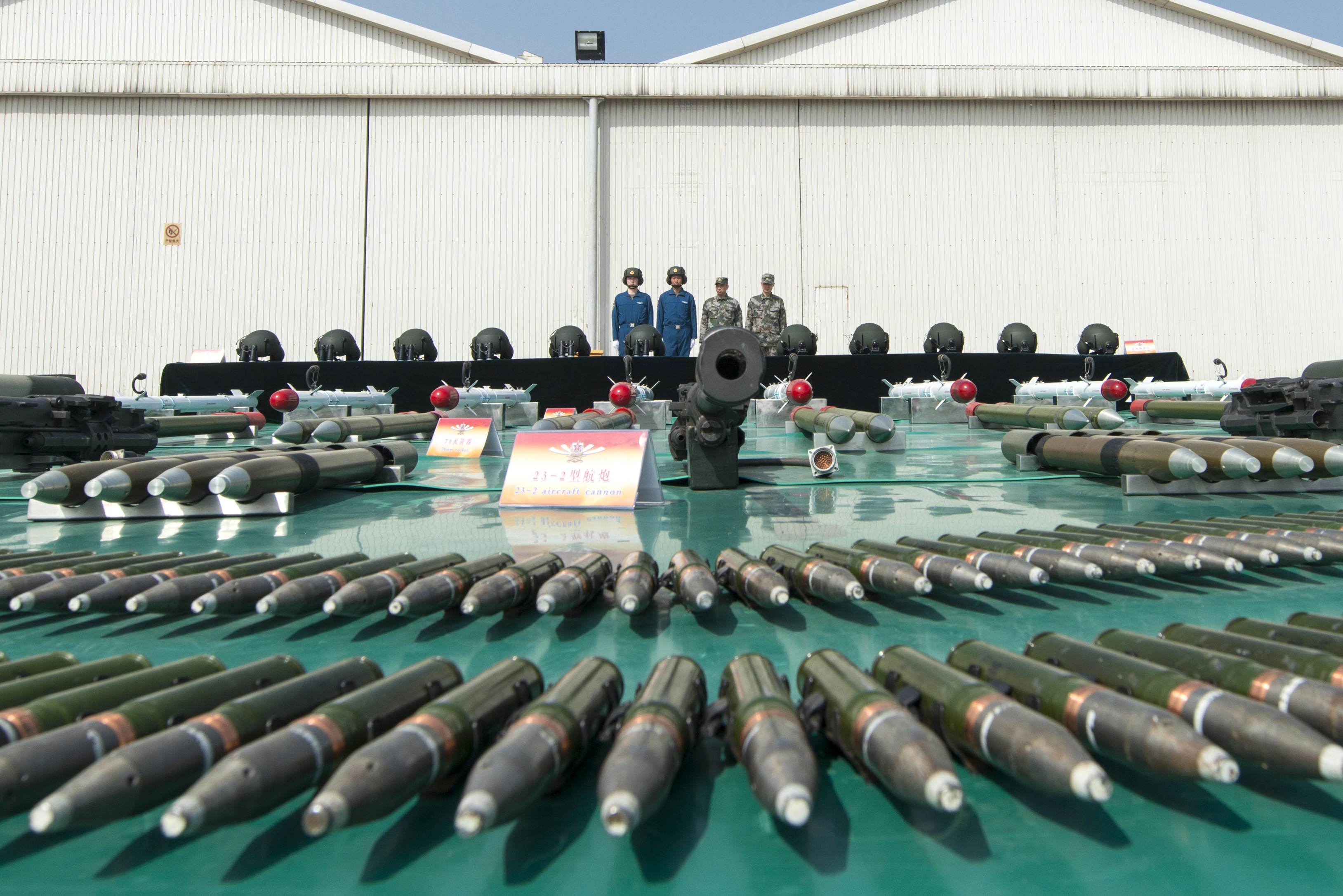 File:Munitions are on display at a Chinese military post near ...