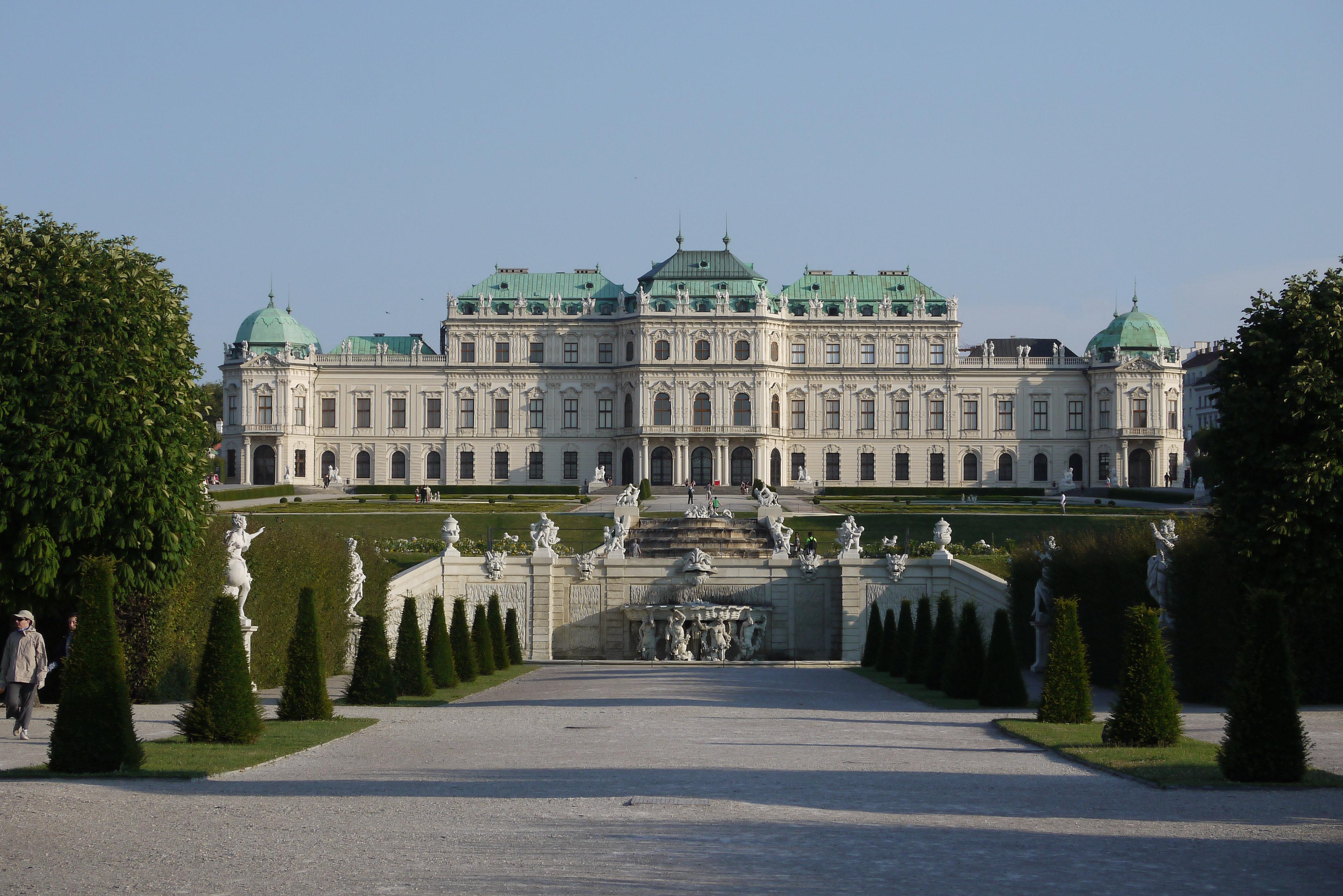 Oberes Belvedere, vom Hauptteil des Gartens aus gesehen
