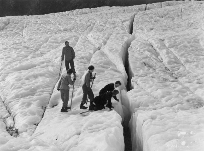 Party inspecting a crevasse on the Fox Glacier (3307743585)