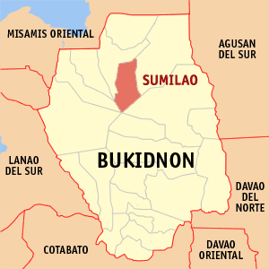 Map of Bukidnon showing the location of Sumilao