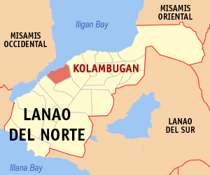 Map of Lanao del Norte showing the location of Kolambugan