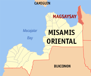 Map of Misamis Oriental showing the location of Magsaysay
