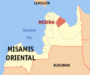 Map of Misamis Oriental showing the location of Medina