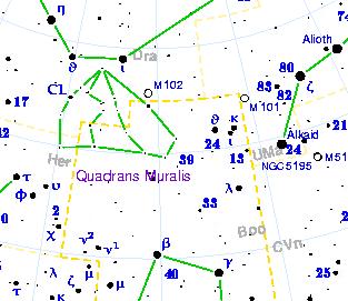Lage des Sternbilds Mauerquadrant