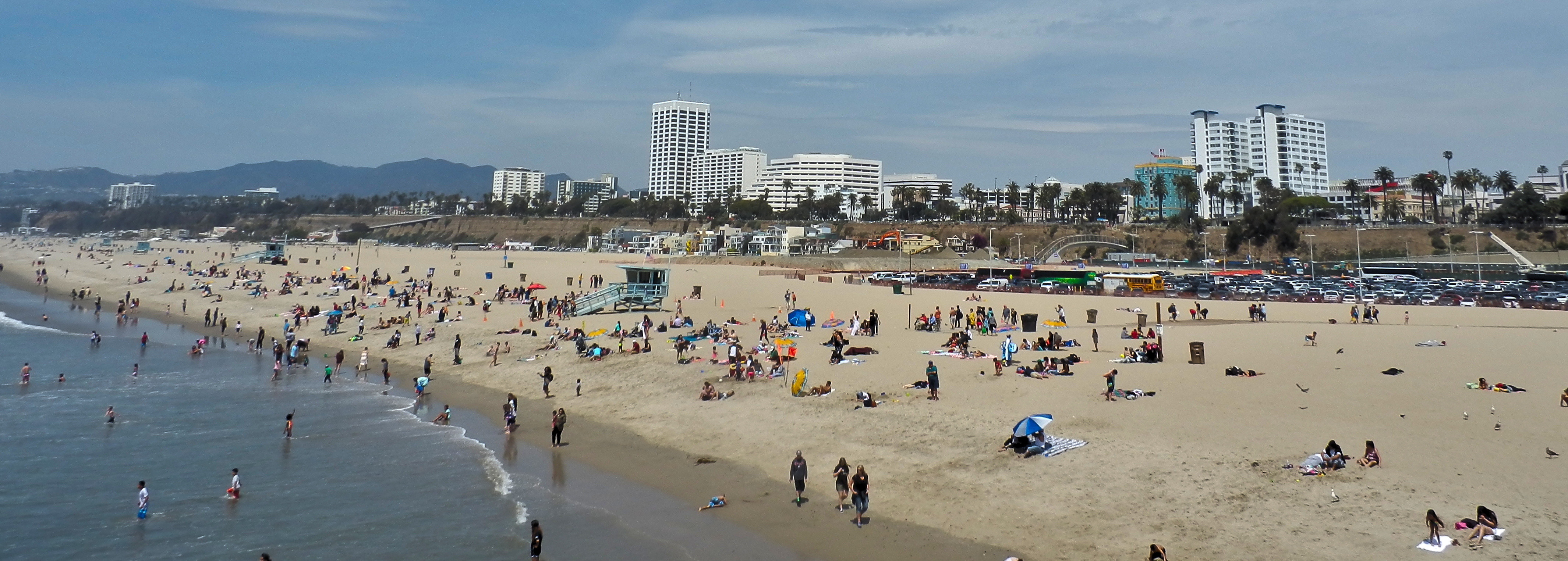 The busy Santa Monica State Beach