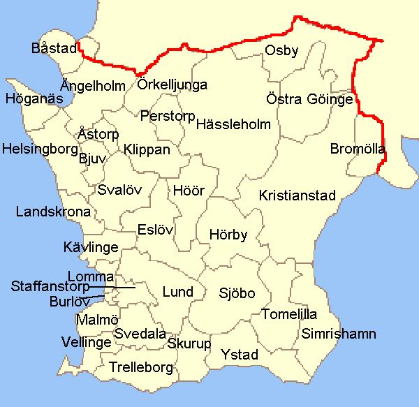 Kommuner I Blekinge Karta.Skane Lan Wikipedia