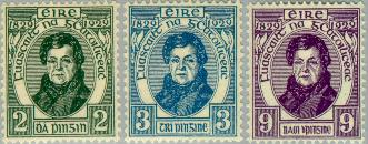 The first commemorative postage stamps of Ireland, issued in 1929, commemorate the Roman Catholic Relief Act of 1829 with a portrait of Daniel O'Connell. Stamp irl 1929oconnellset.jpg