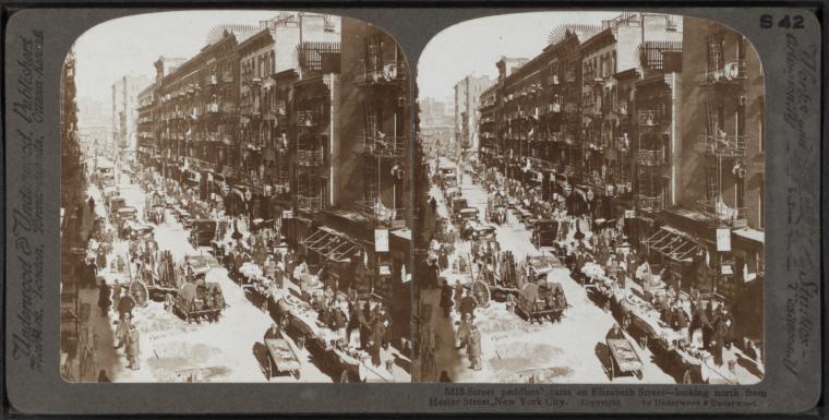 File Street Peddlers Cart On Elizabeth Street Looking