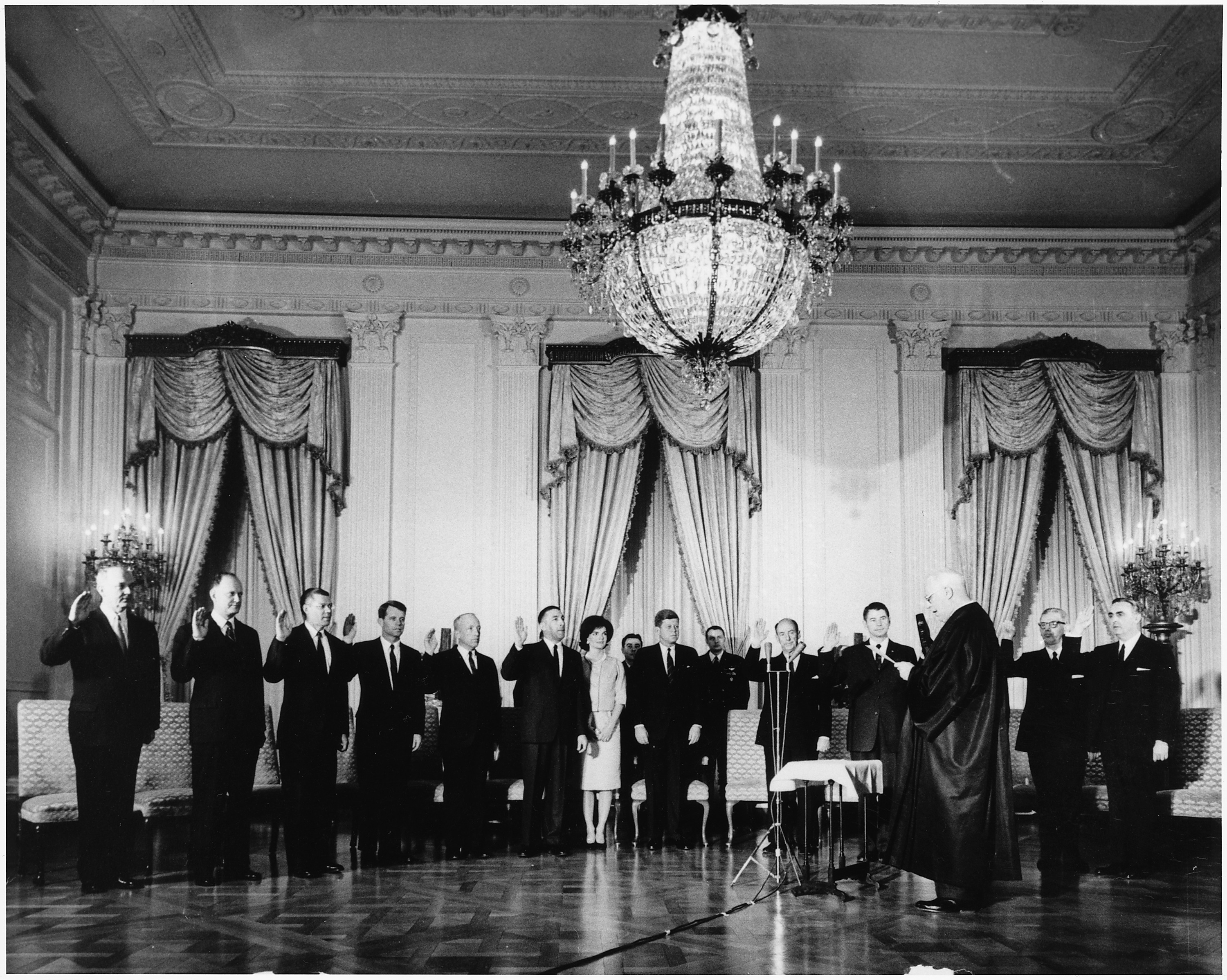January 21:The Cabinet is sworn in by Chief Justice Earl Warren.