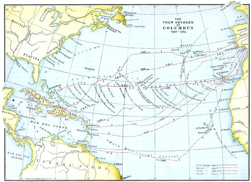 Christopher Columbus 1492 Voyage Map