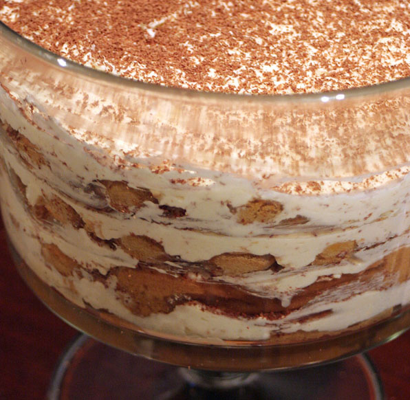 Tiramisu in a round glass container