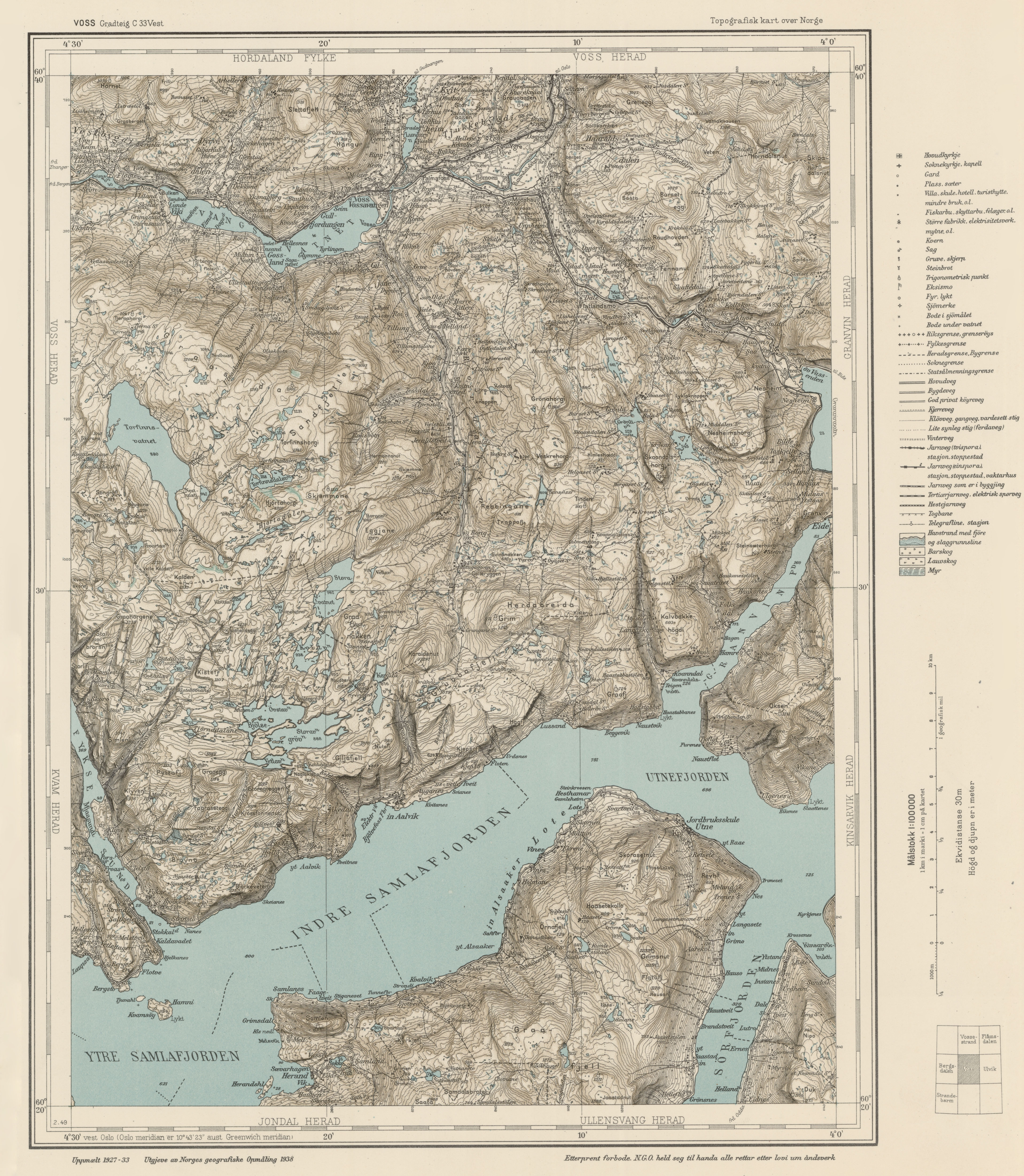 Topographic Map Of Norway.File Topographic Map Of Norway C33 Vest Voss 1938 Jpg Wikimedia