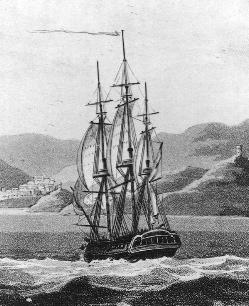 Drawing of the USS Philadelphia, built in the Frigate Philadelphia, 1799.