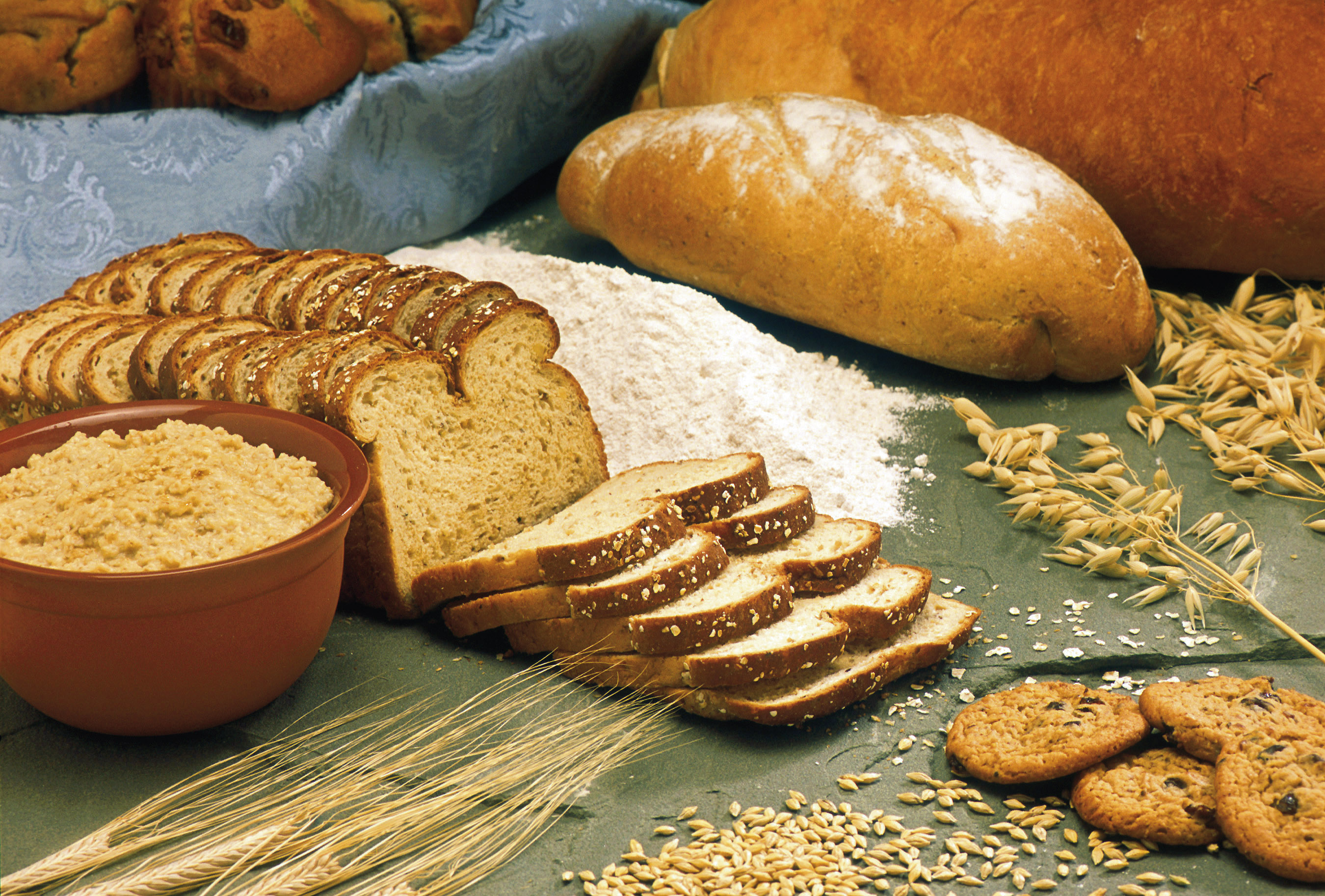 A variety of breads and grains