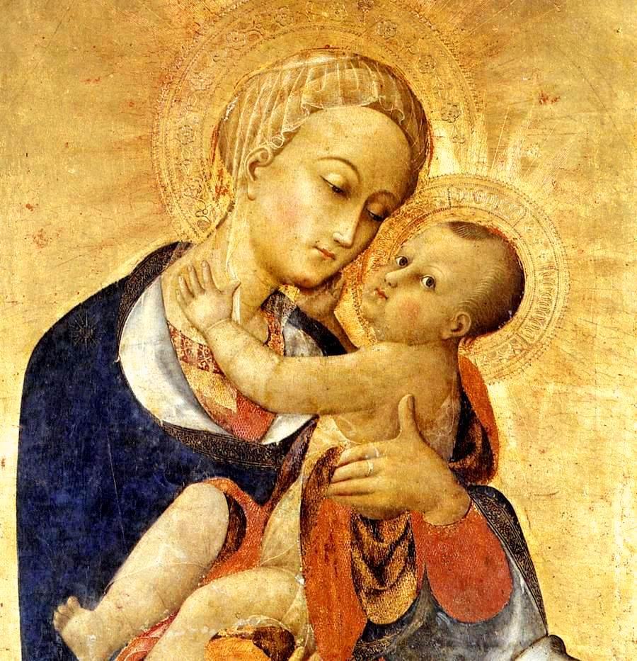 Vierge à l'enfant et quatre saints (détail), de Sassetta (Vers 1435) Tempera sur bois