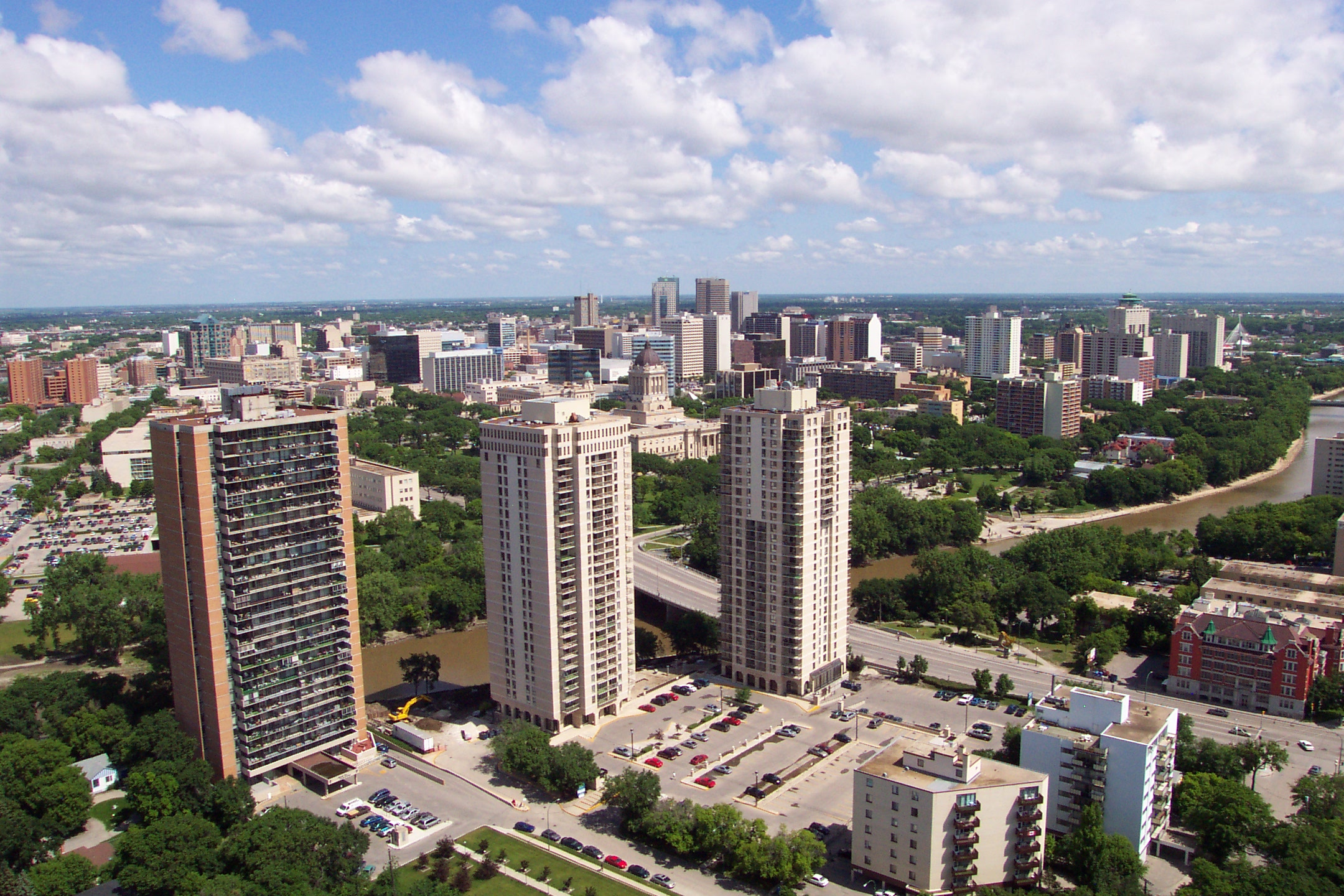 Winnipeg (MB) Canada  City new picture : Winnipeg skyline from 55 Nassau Wikipedia, the free ...