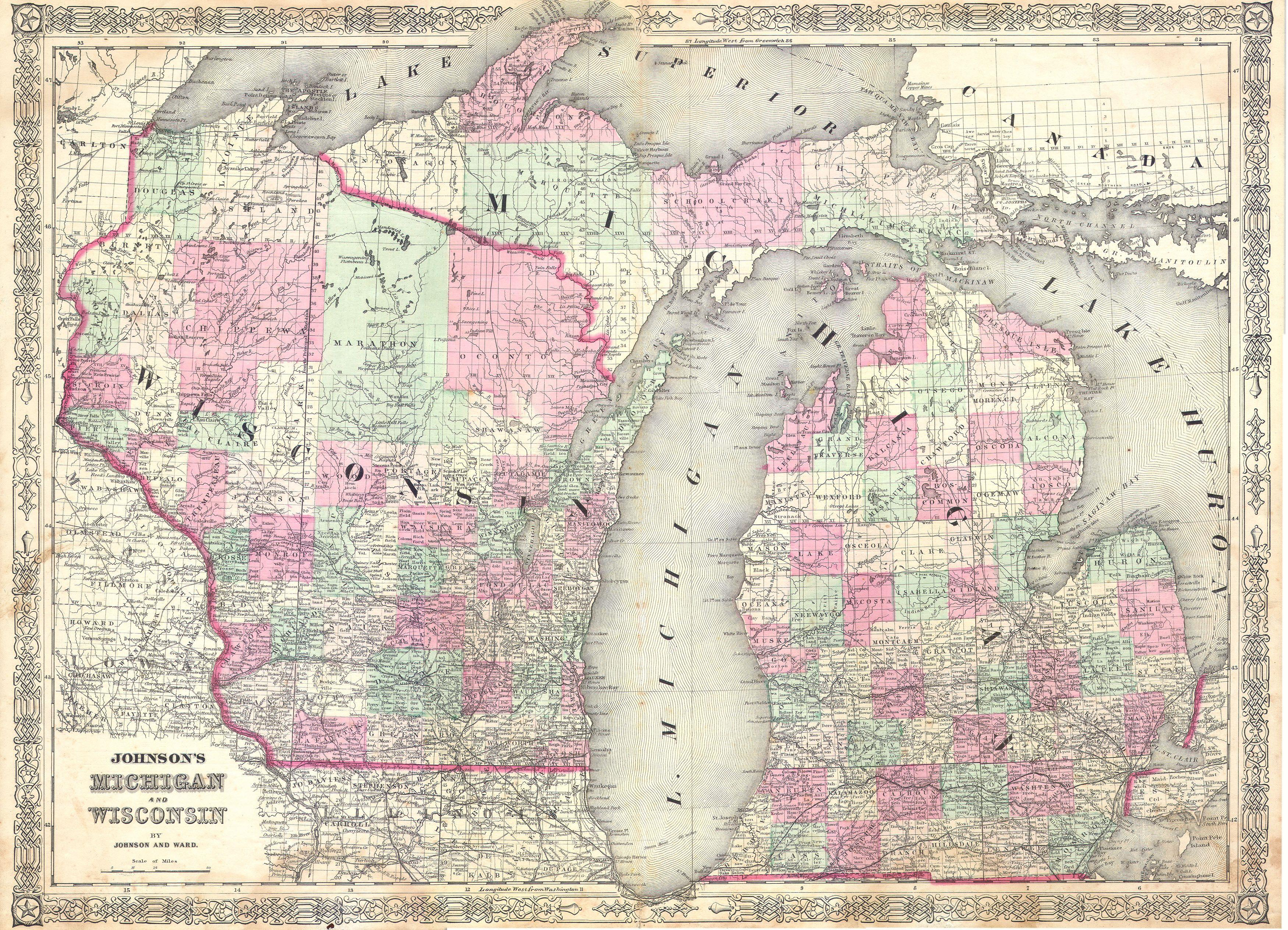 File1863 Johnson Map Of Michigan And Wisconsin