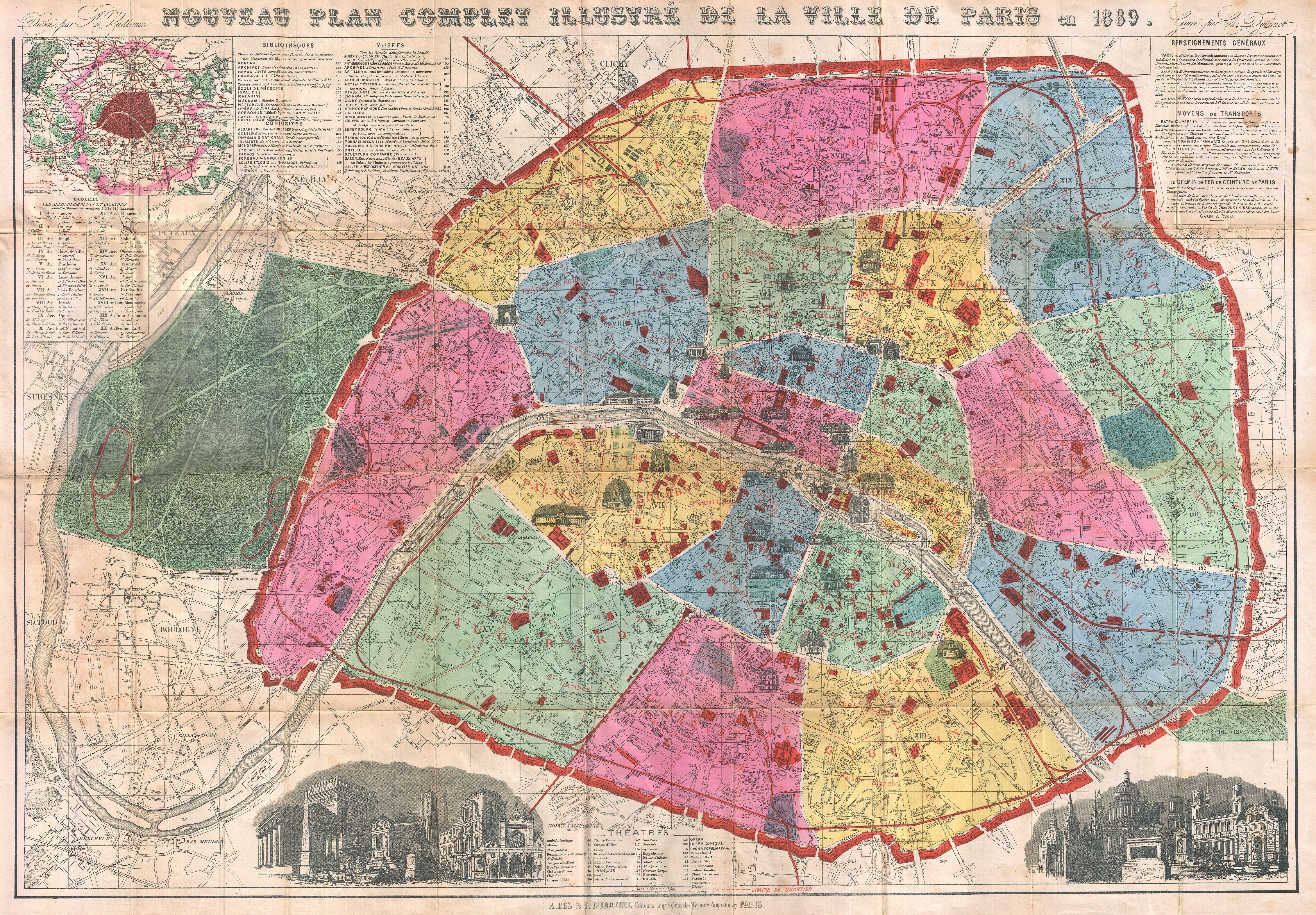 File:1889 Vuillemin Map of Paris, France - Geographicus ...