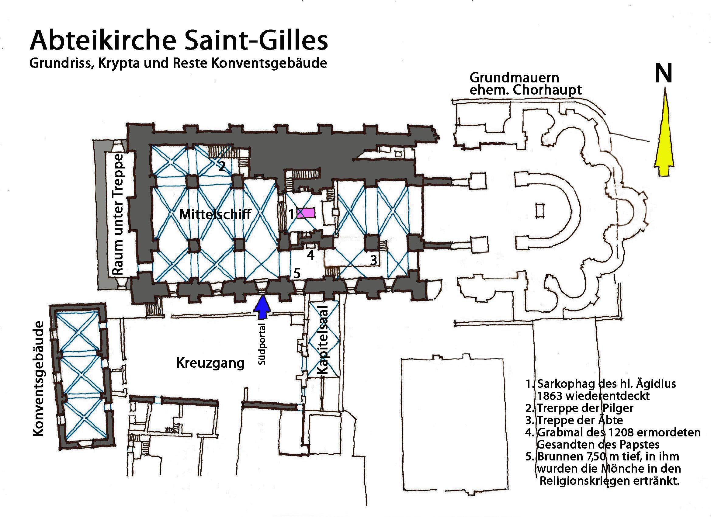 File Abteikirche Saint Gilles Grundriss Krypta Reste Konventsgebäude Jpg