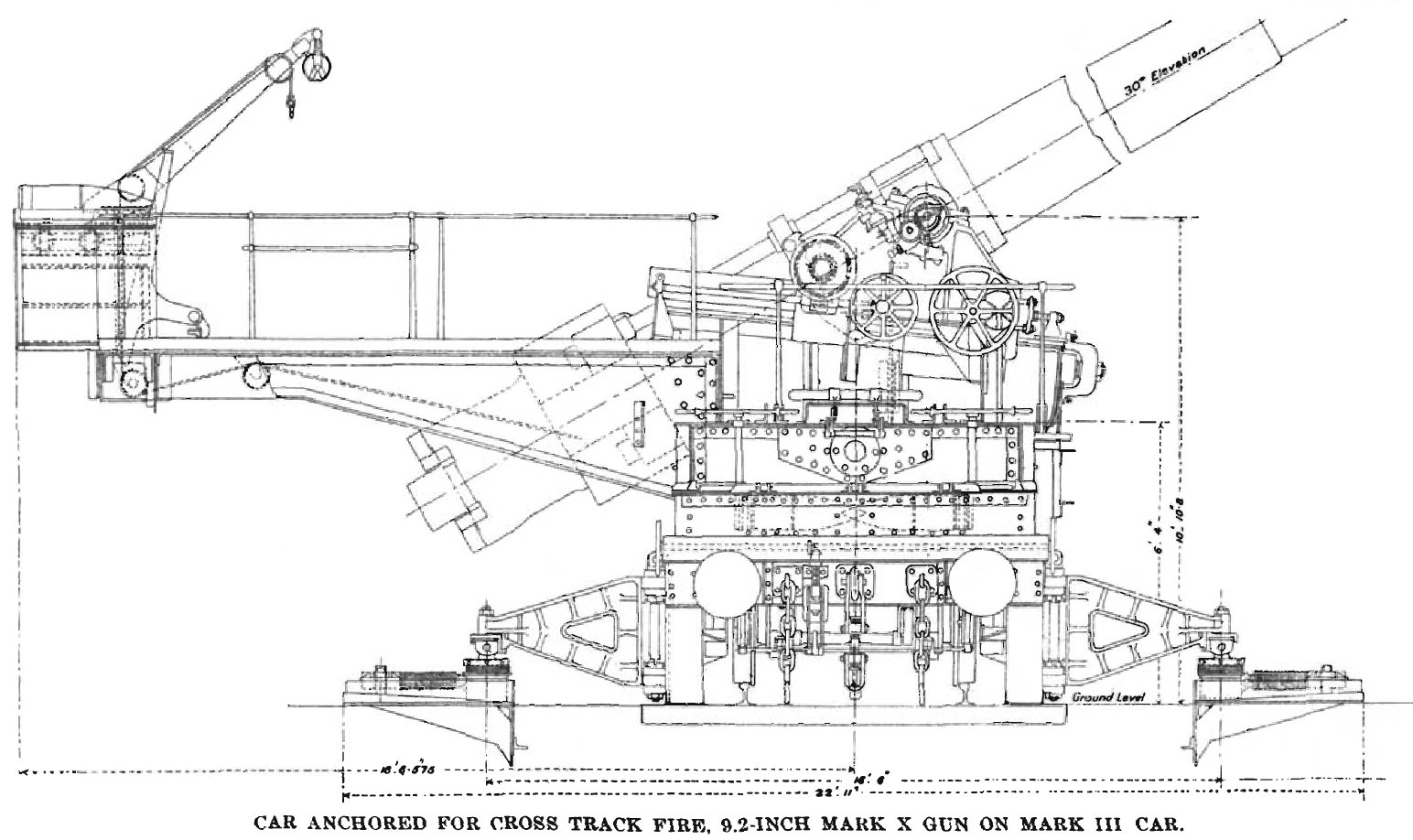 File BL 9 2 inch Mk X railway gun anchored for crosstrack firing diagram on battery drawing