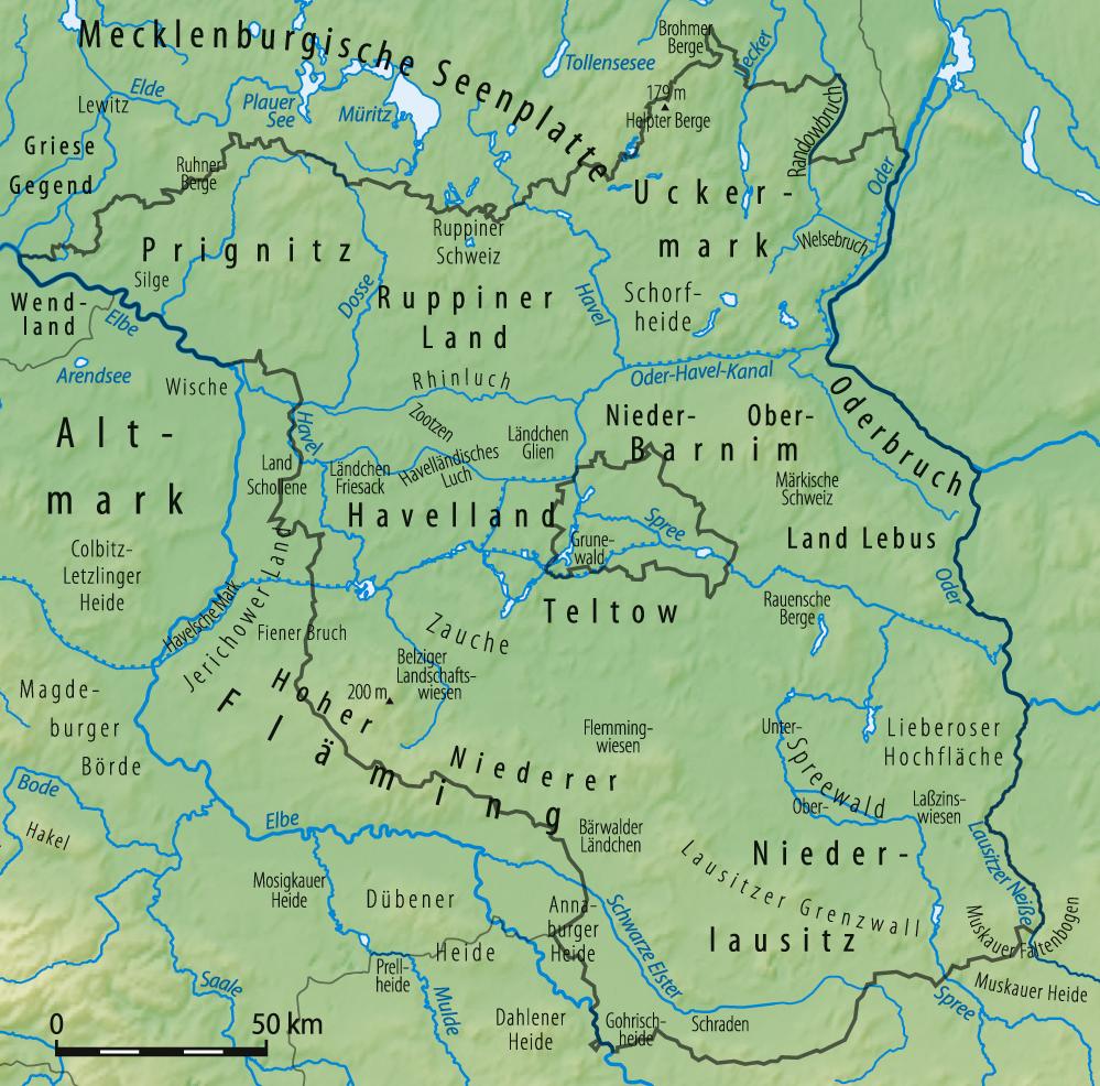Fluss Karte Brandenburg