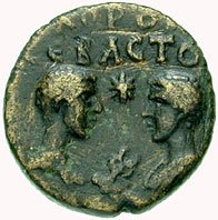 Coin of Marcus's sons Commodus and Annius facing each other