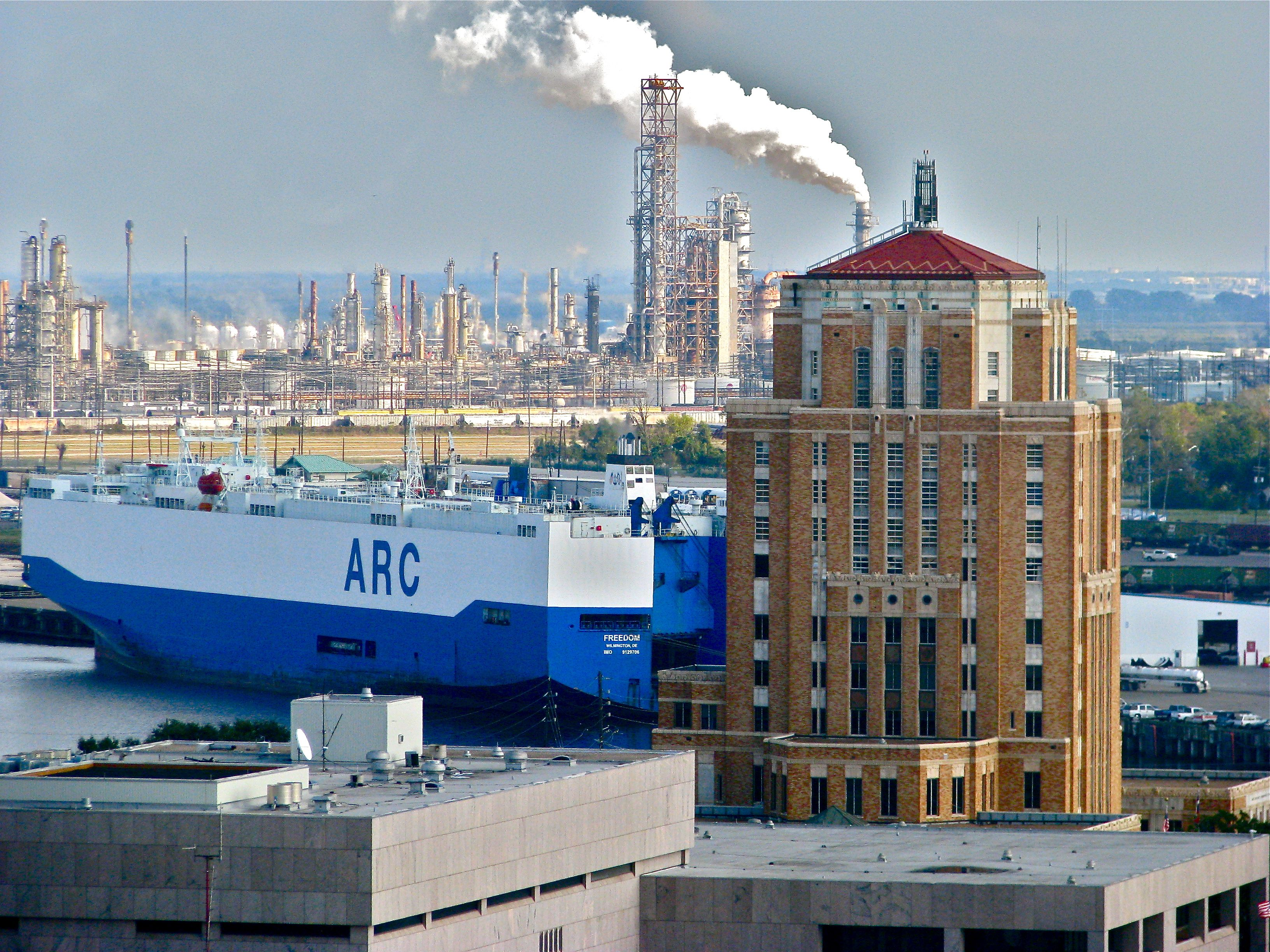 Refineries, Port of Beaumont and the Jefferson County Courthouse