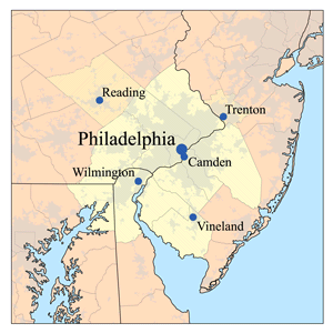 Map of the Delaware Valley region