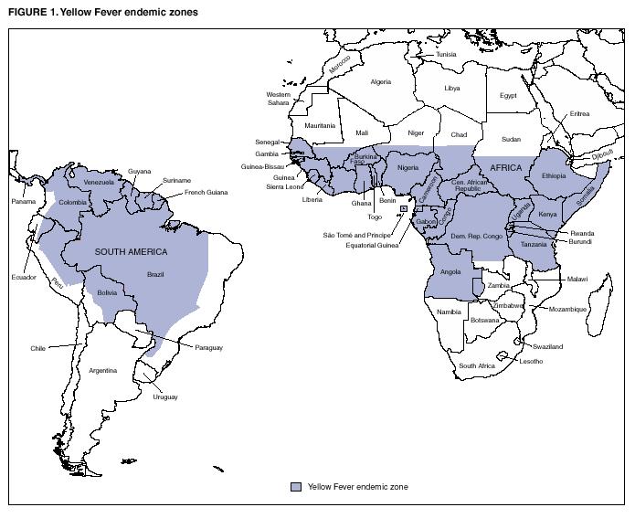 Distribuzione geografica della febbre gialla da CDC