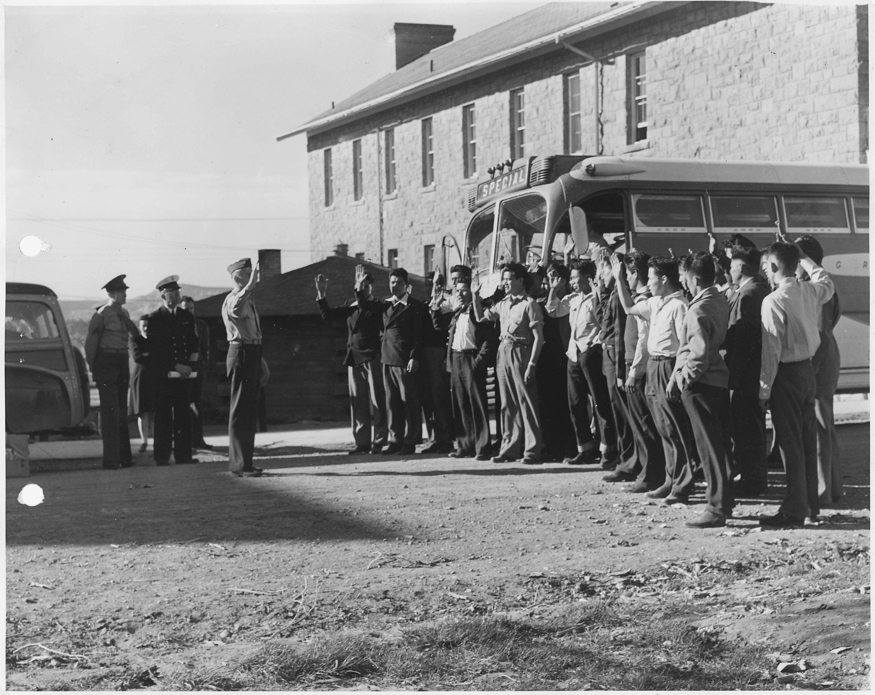 First Navajo code-talker recruits being sworn in, Fort Wingate, NM