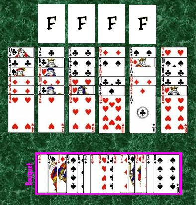 The initial layout in the game of Flower Garden