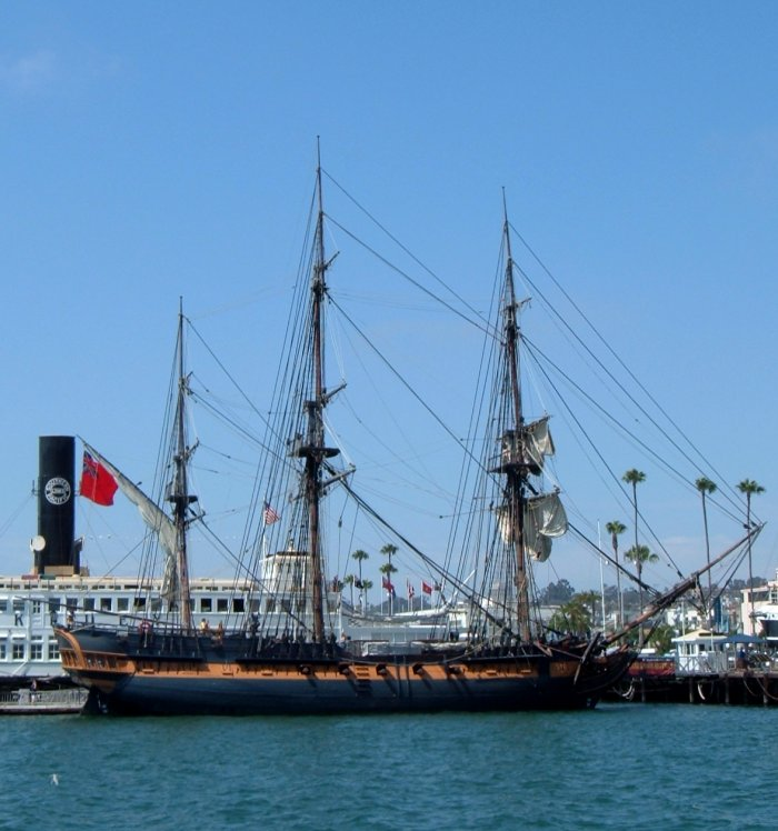 """She was sold to the 20th Century Fox film studio in 2001 to be used in the making of the film Master and Commander: The Far Side of the World, in which she portrayed the Royal Navy frigate Surprise with a story based on several of the books by Patrick O'Brian. After the film was complete, the ship was leased and then purchased by the Maritime Museum of San Diego which has restored her to sailing condition as of September 2007.[1] The ship has officially been re-registered as """"HMS Surprise"""" in honor of her role in the film. She sails several times a year, often with the museum's other tall ships..."""