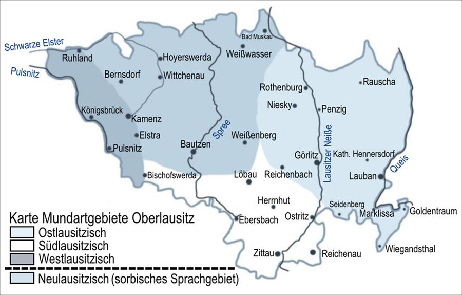 Karte Mundartgebiete Oberlausitz (die schlesisch-lausitzer Mundart wird hier als Ostlausitzisch bezeichnet)