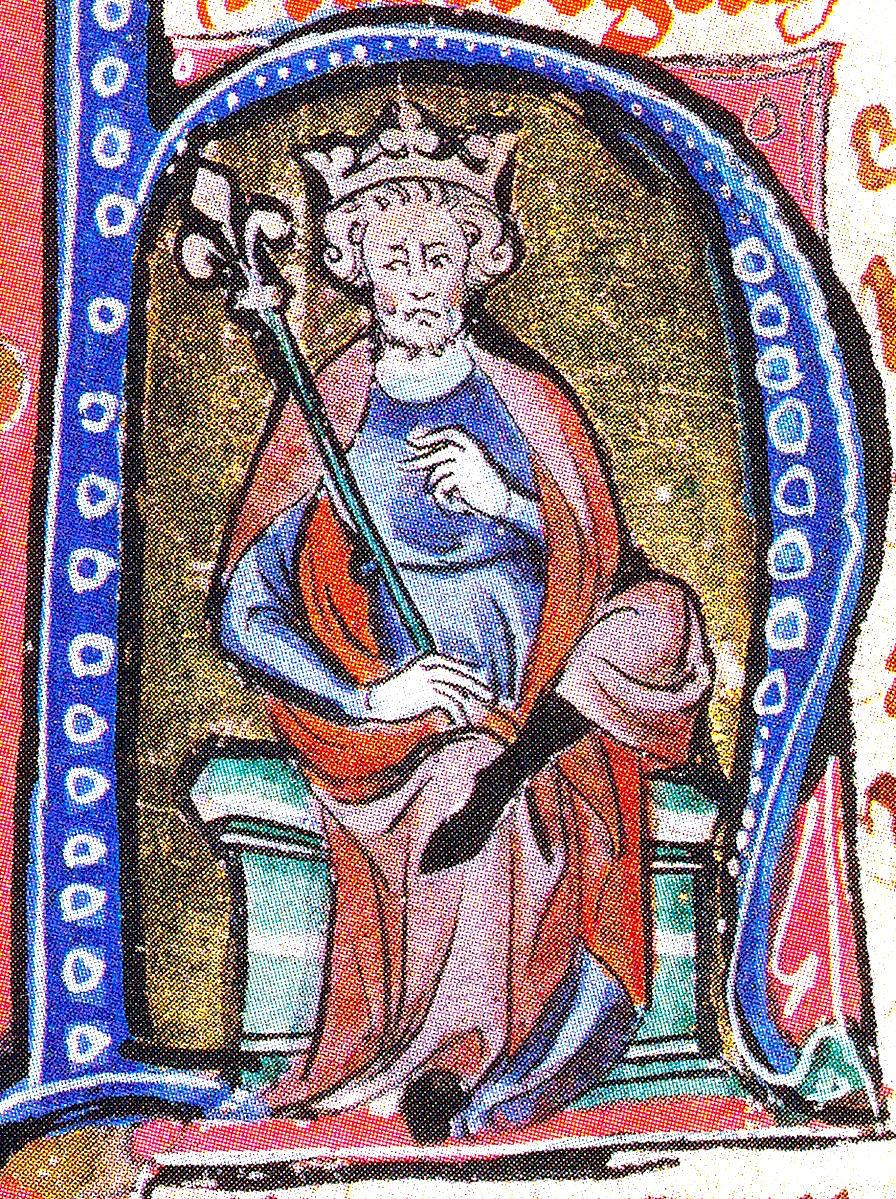 Knut der Große. Buchminiatur, um 1320.