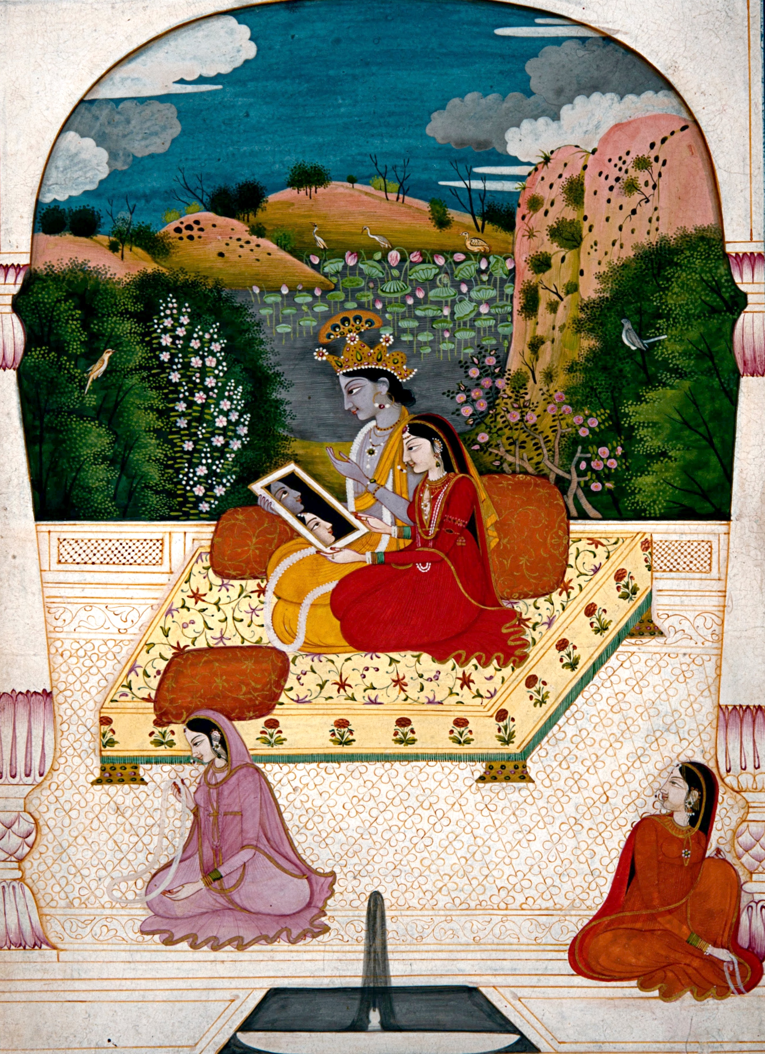 file krishna and radha looking into a mirror google art project