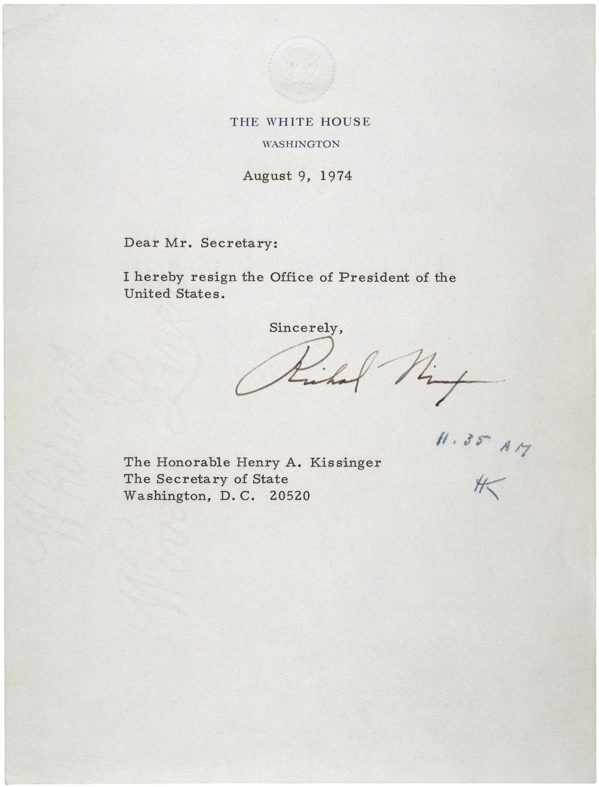 Fileletter Of Resignation Of Richard M Nixon  Jpg