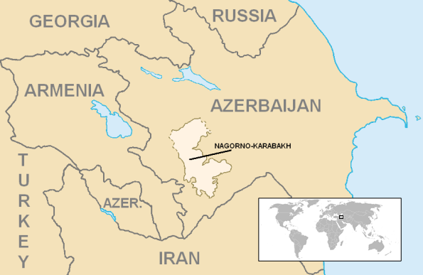 Location and extent of the former Nagorno-Karabakh Autonomous Oblast (lighter color).