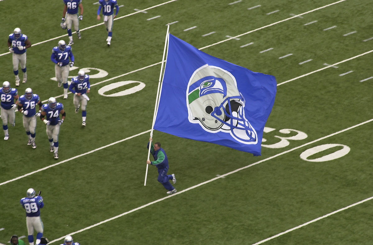 Man running with Seahawks flag, 2001.jpg