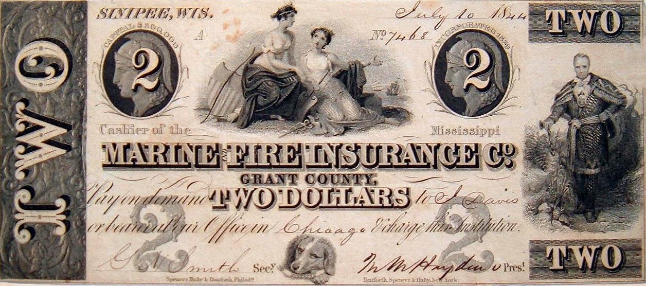 Papel Moeda Privado No Valor De 2 Dólares Emitido Durante A Free Banking Era 1837 1864