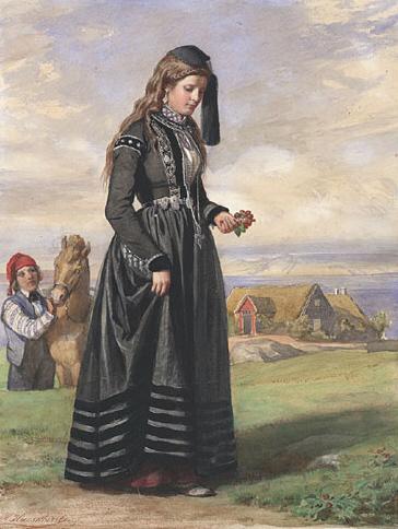 Tysk framstilling av «norsk bunad ca. 1861», i virkeligheten en islandsk «faldbúningur med skotthúfa». Wikipedia.