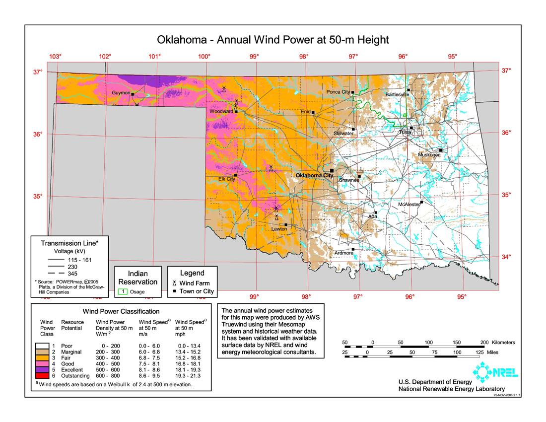 FileOklahoma Wind Resource Map 50m 800jpg  Wikimedia