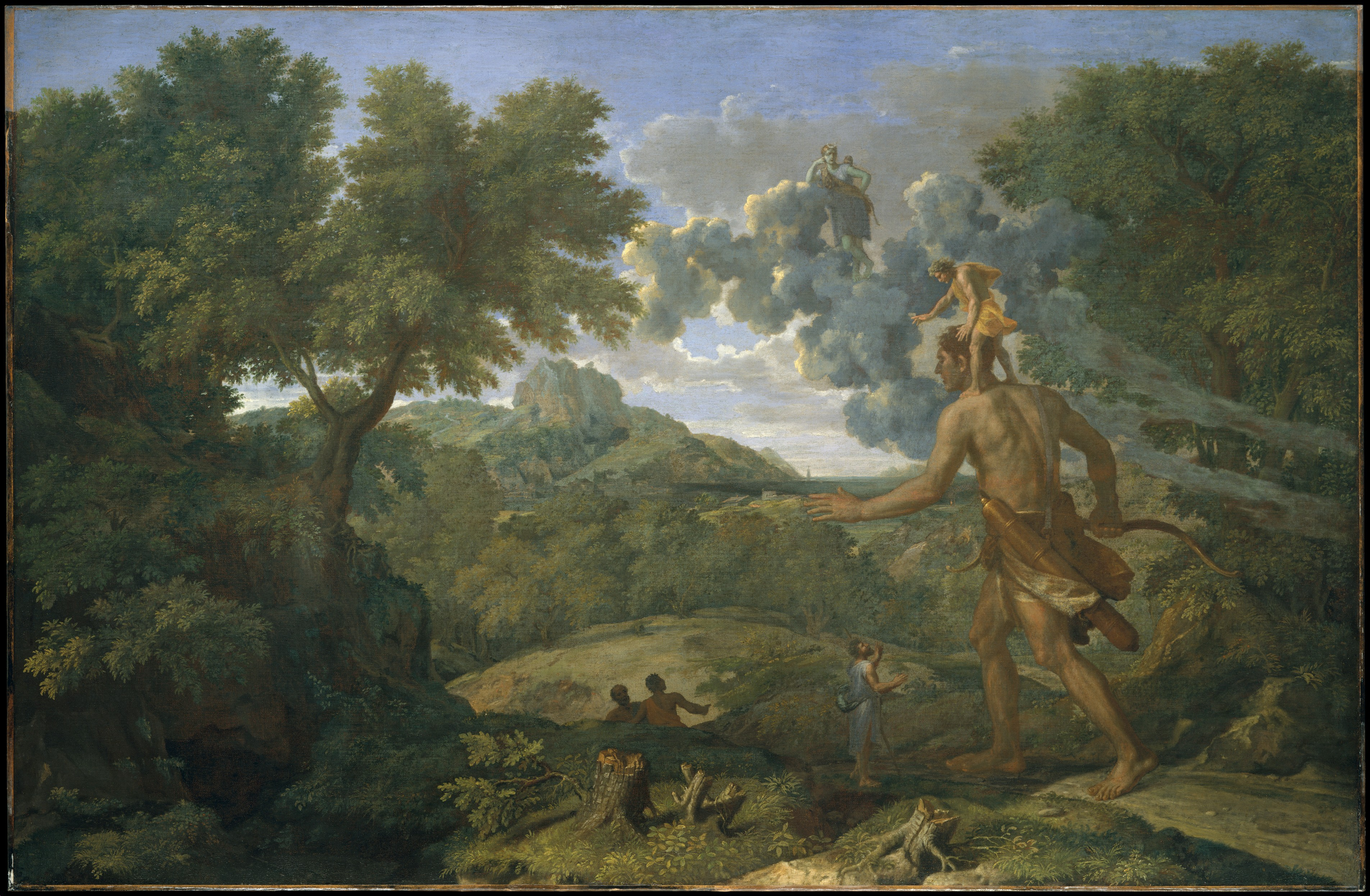 Image of Cedalion standing on the shoulders of Orion, Nicolas Poussin's Blind Orion Searching for the Rising Sun