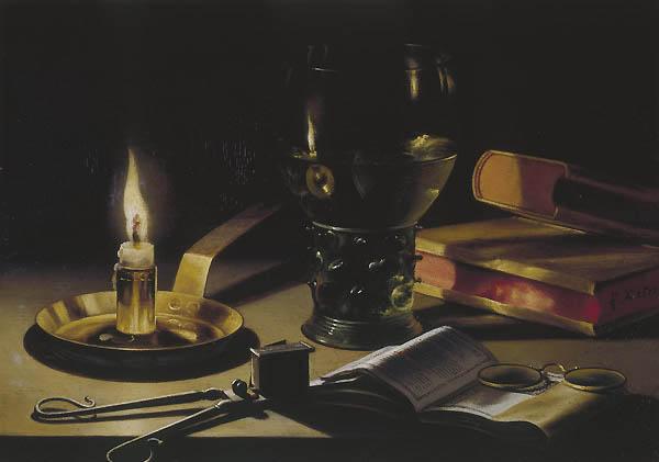 Stillleben mit brennender Kerze (1627) von Peter Claesz (ca. 1597–1660). Vorn links ist eine Lichtputzschere zu sehen.