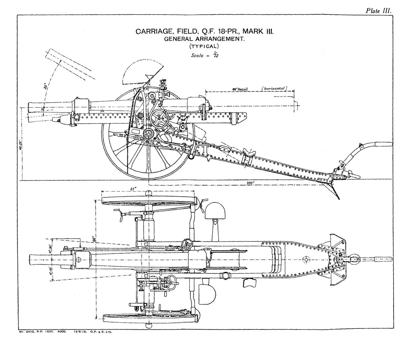 File:QF 18 pounder carriage Mark III left elevation and plan diagrams.jpg