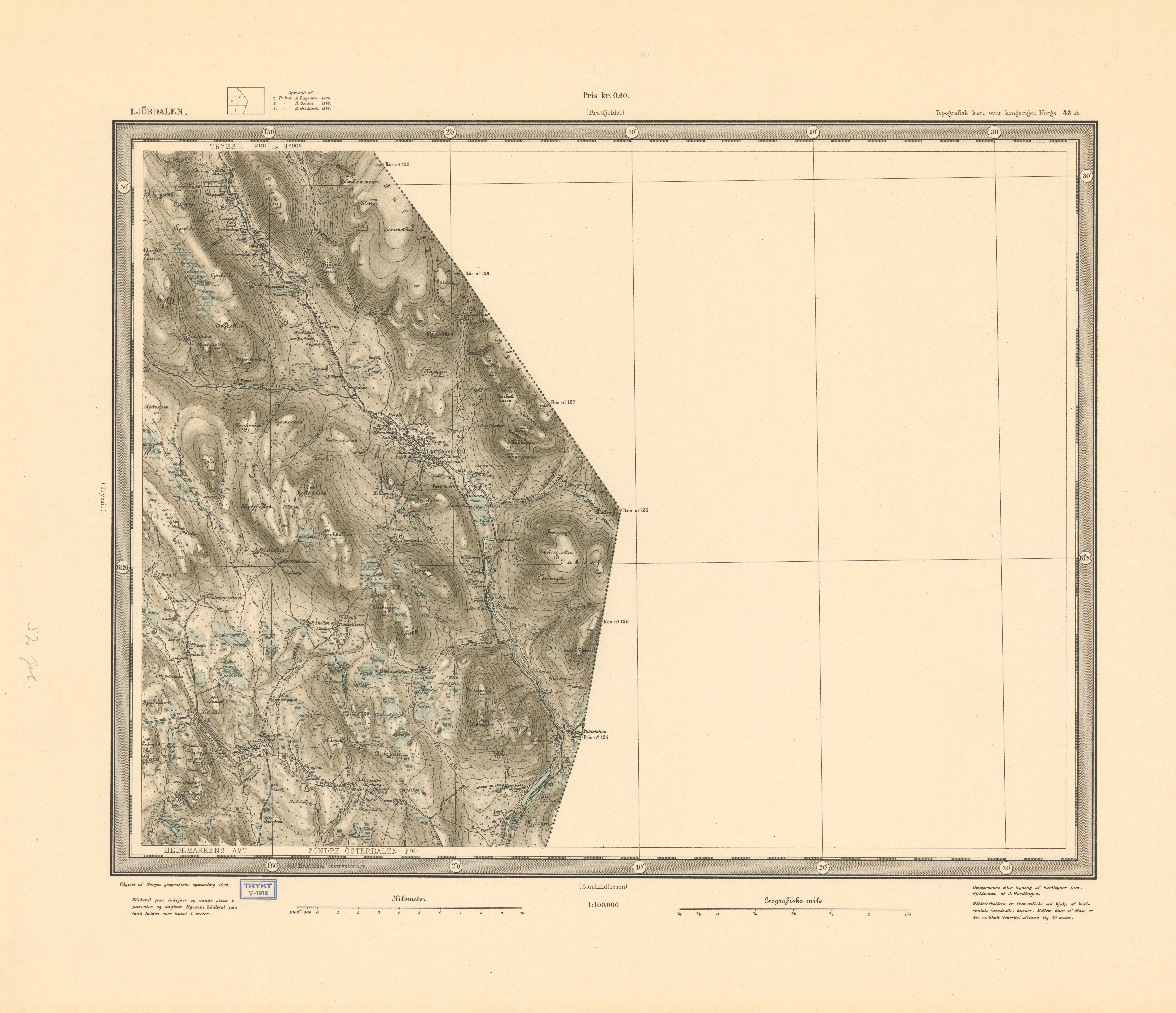ljørdalen kart File:Rektangelkart Ljørdalen 33A, 1899   2.   Wikimedia Commons ljørdalen kart