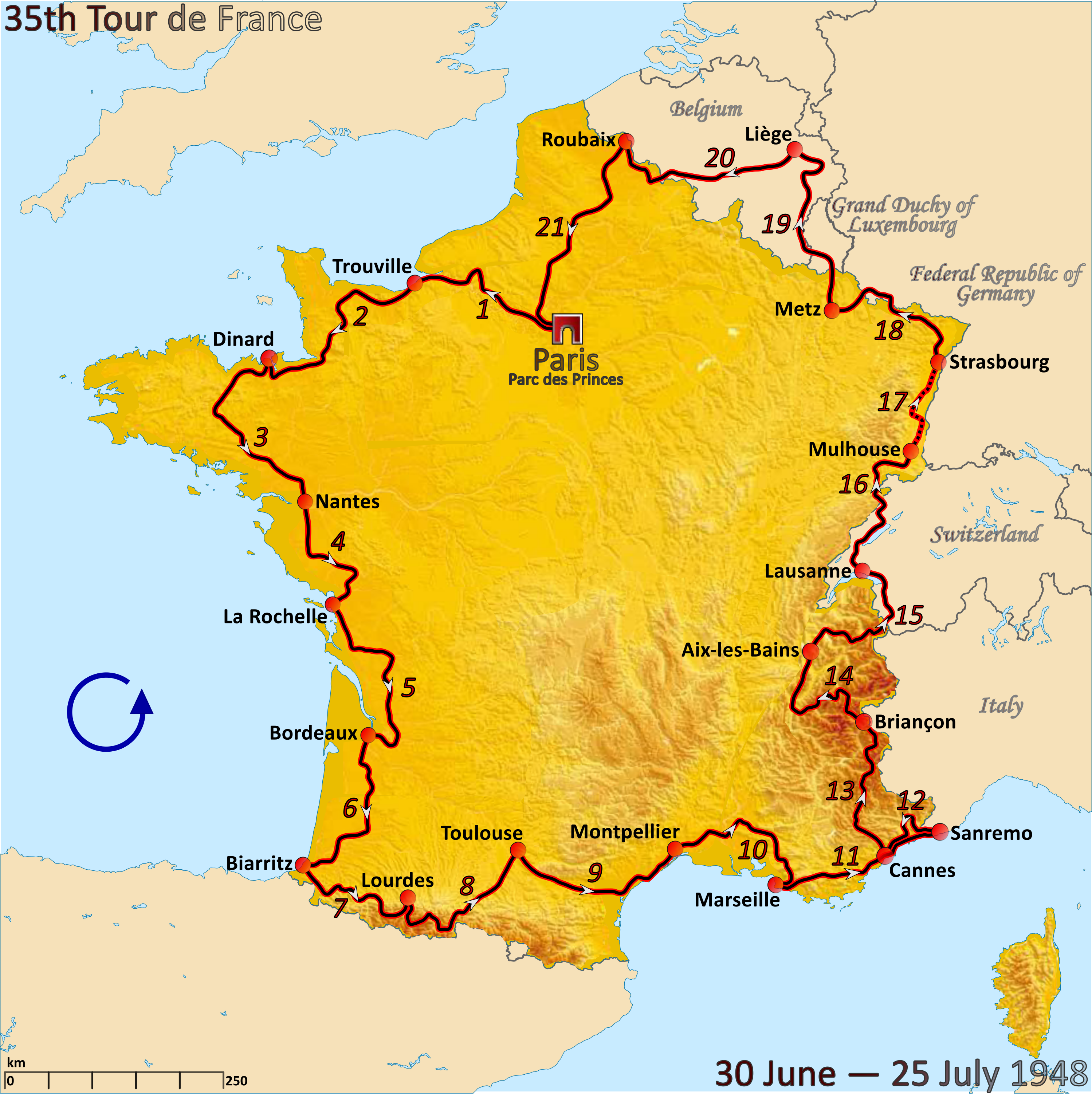 File Route Of The 1948 Tour De France Png Wikimedia Commons