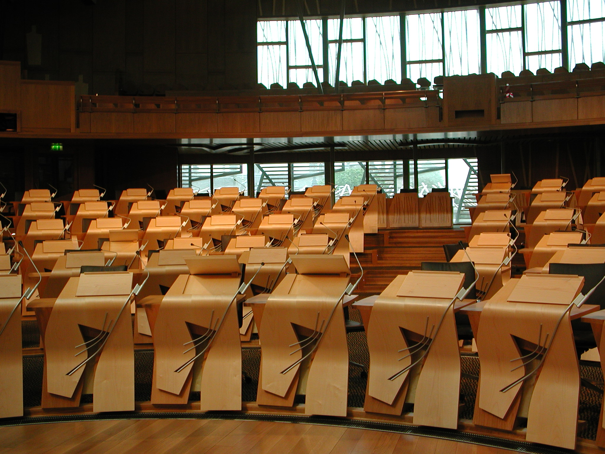 The MSPs' desks contain all the electronic voting equipment which records the outcome of parliamentary votes. 'Decision Time' takes place on sitting days at 5pm.