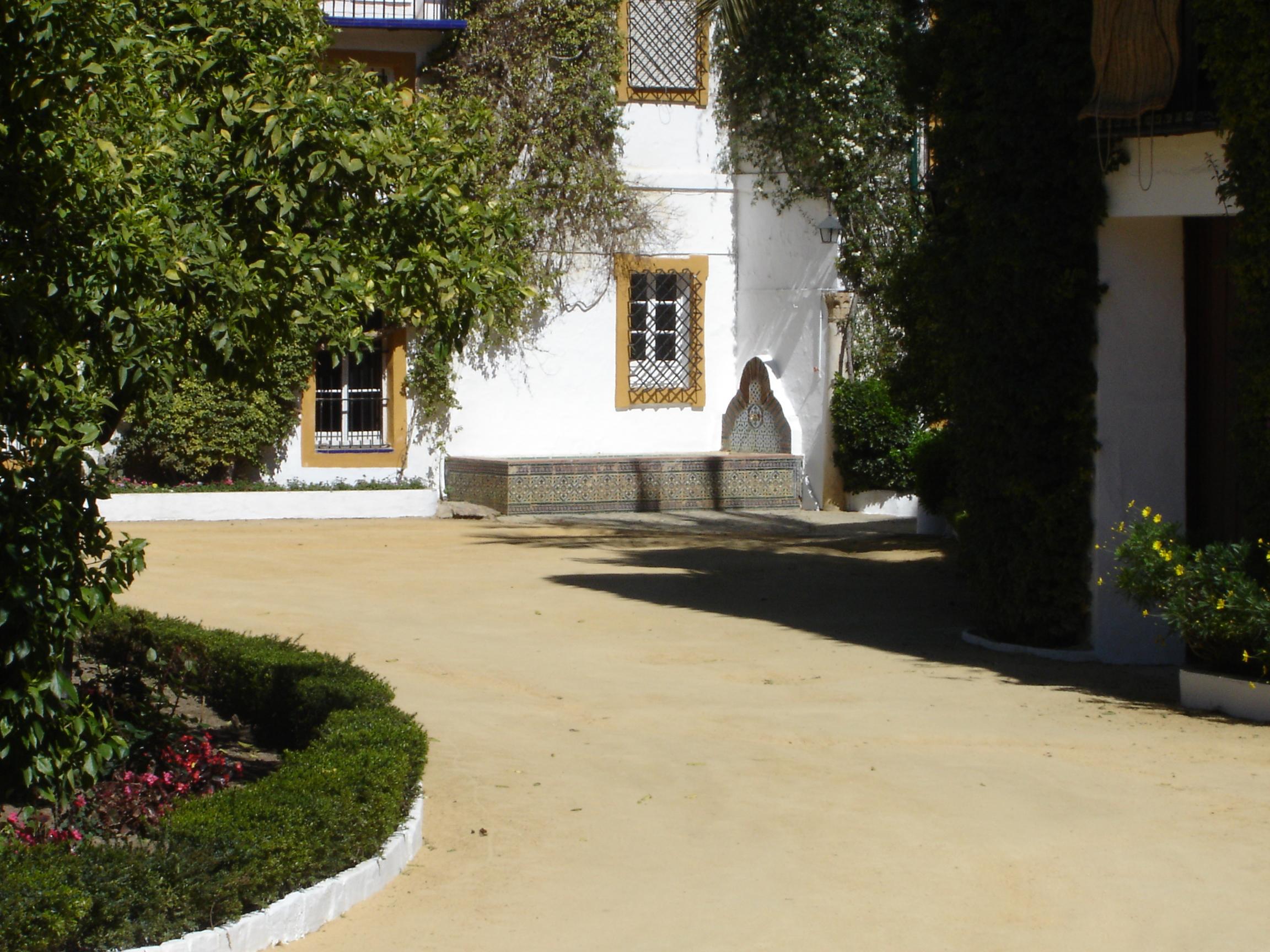 El rincón de la alberca en uno de los patios del Palacio de las Dueñas, en una de cuyas viviendas nació, en 1875, Antonio Machado.