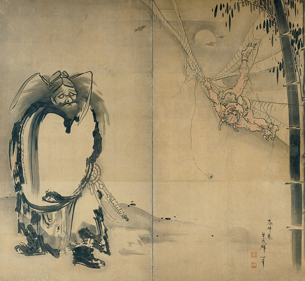 File:Soga Shohaku, Japanese (1730–1781), Shoki Ensnaring a Demon in a Spider Web, 18th century, Japan, Edo period, Two-fold screen; ink on paper, Kimbell Art Museum.jpg
